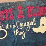 Boots & Bling – Denim Wood Sign